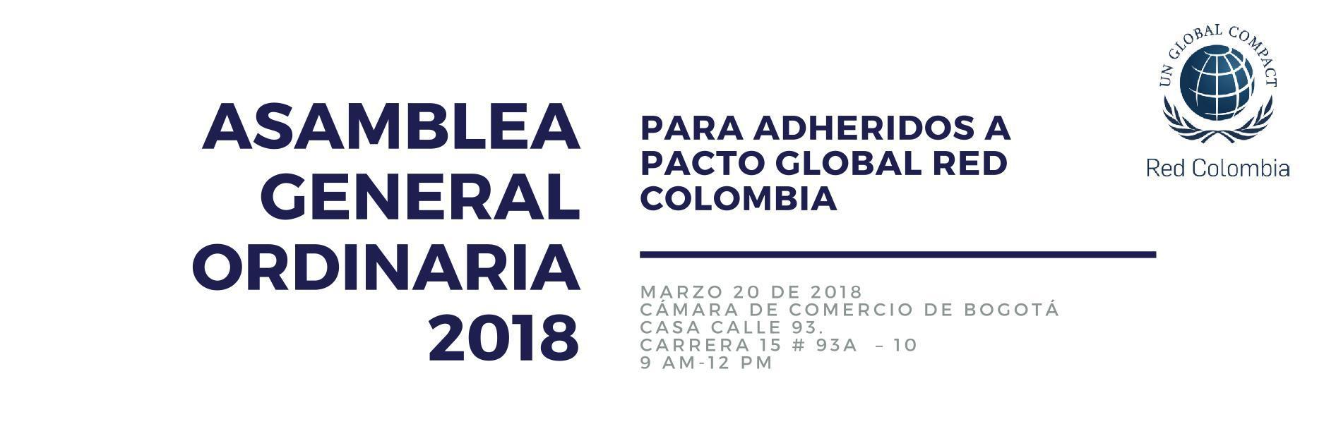 Citación Asambles General 2018 Pacto Global Red Colombia
